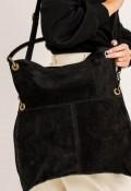 Bolso shopper de serraje de Mujer Negro Lookat 034
